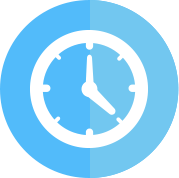 White clock icon with a blue background